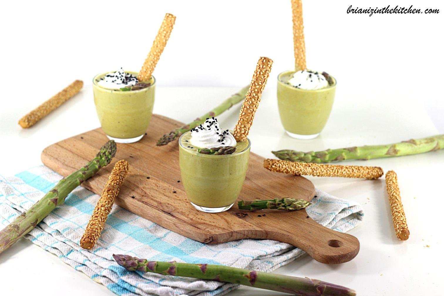 Cappuccino Asperges Vertes et Mousse de Chèvre Frais {Bataille Food #56}