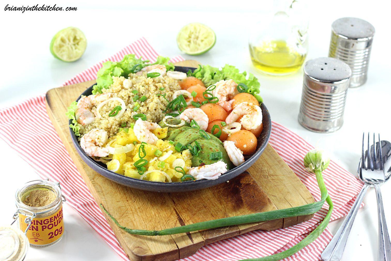 Buddha Bowl Summer {Quinoa, Avocat, Melon, Mangue et Crevettes}