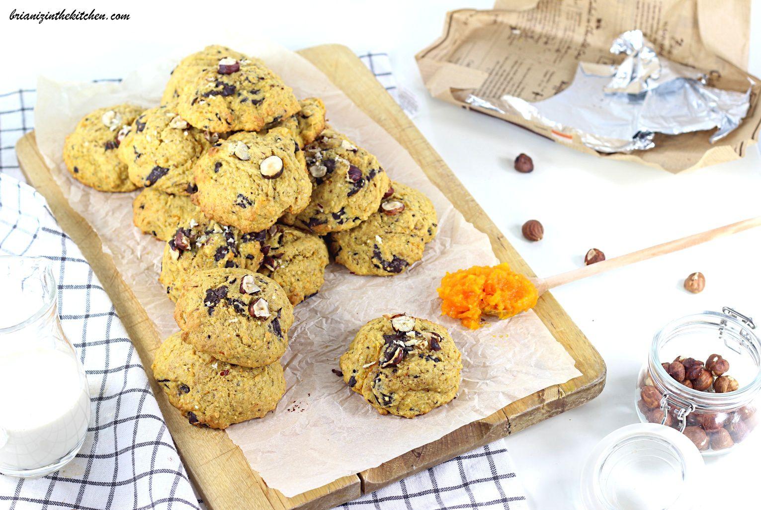 Cookies Potiron, Chocolat et Noisettes
