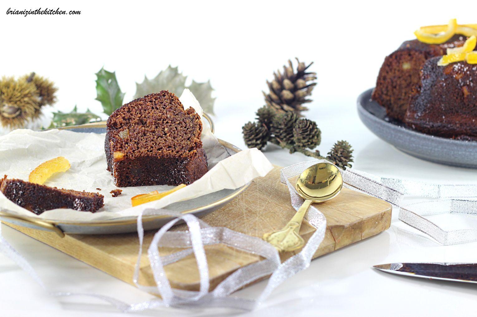 Gâteau de Noël aux Dattes, à la Fleur d'Oranger et à l'Orange Confite