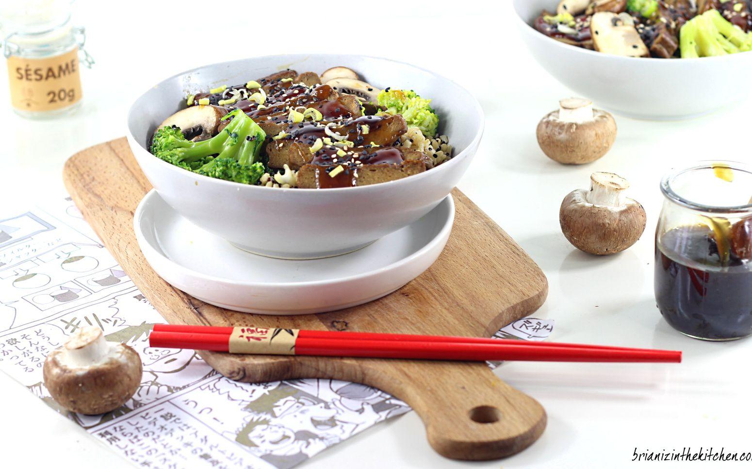 Quinoa Bowl Végétarien Sauce Yakitori {Seitan, Brocoli et Champignons}