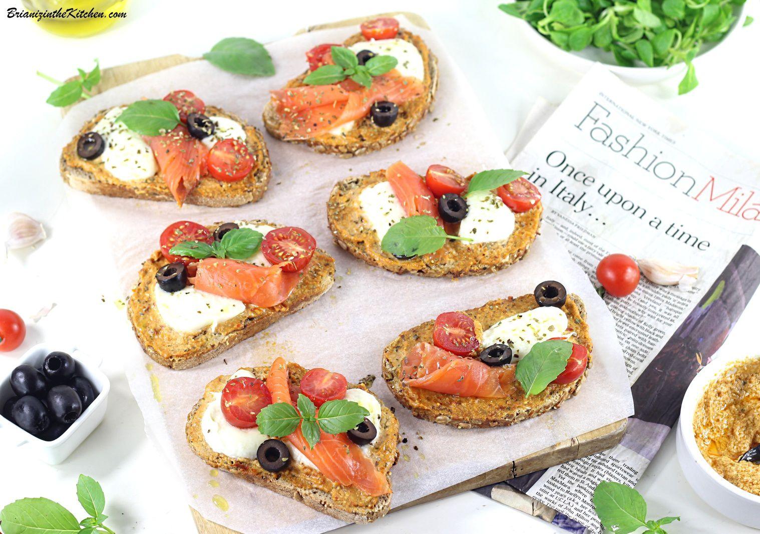 Tartines d'Eté Pesto Rosso, Saumon Fumé et Saveurs d'Italie