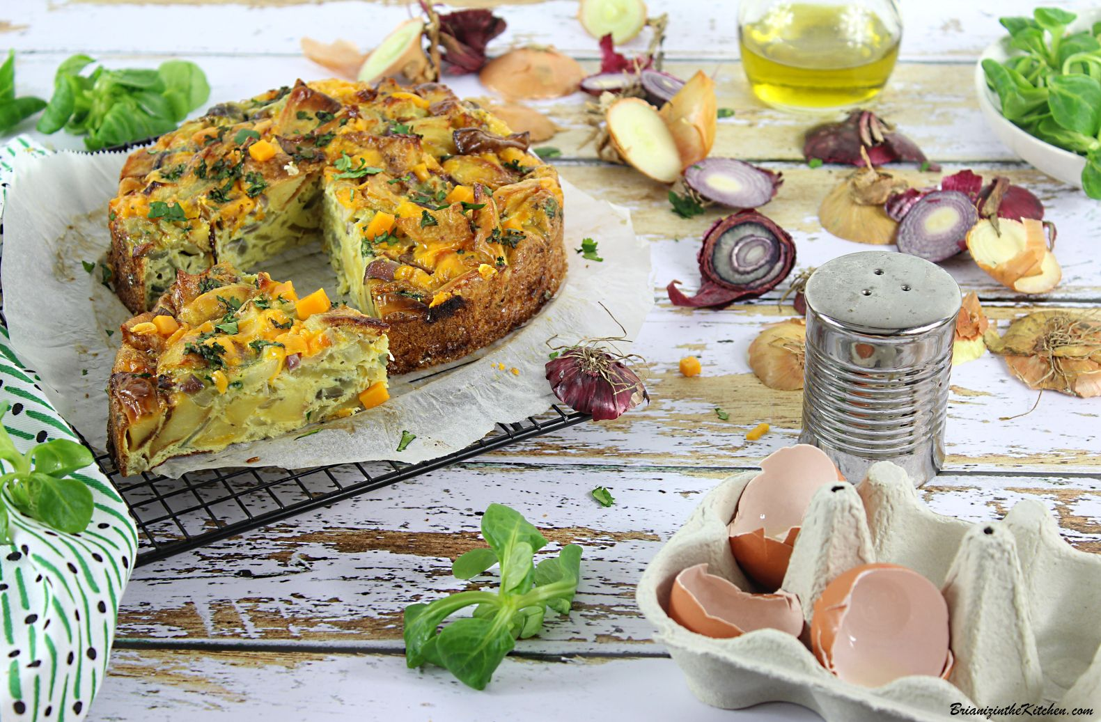 Tortilla Fondue d'Oignons et Restes de Frites {Au Four}