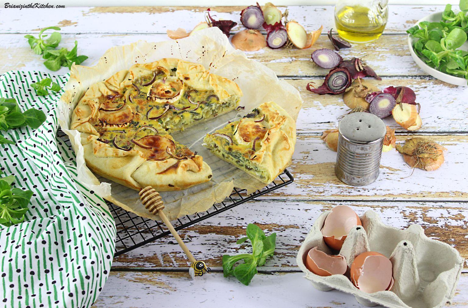 Tarte Rustique à la Fondue d'Oignons, Fromage de Chèvre et Miel