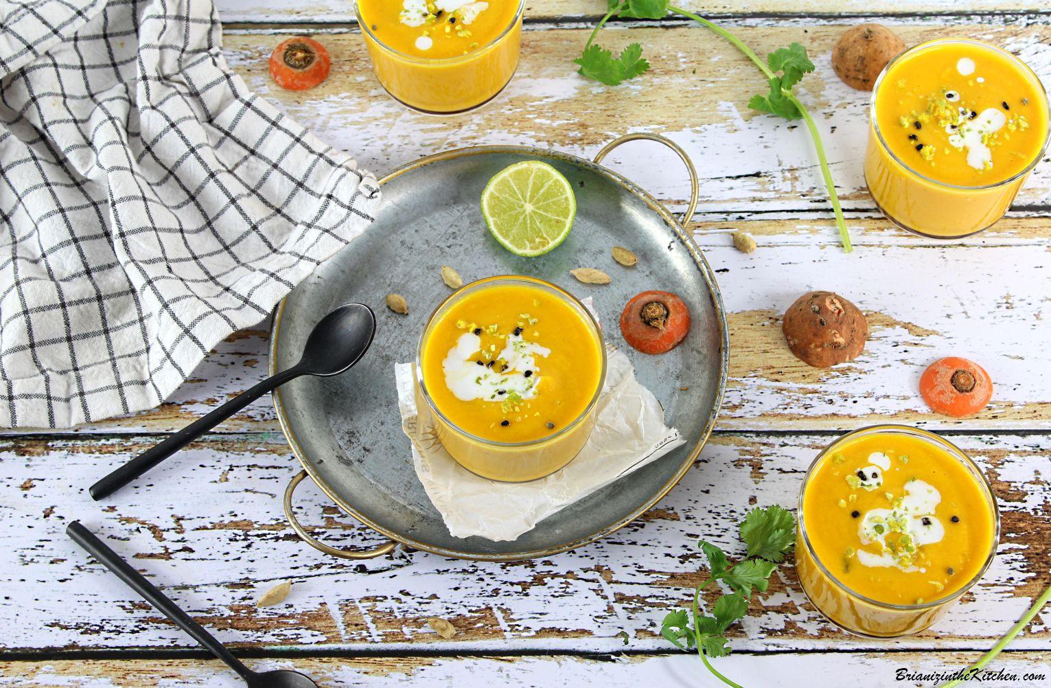 Soupe Froide Epicée Carottes et Patate Douce