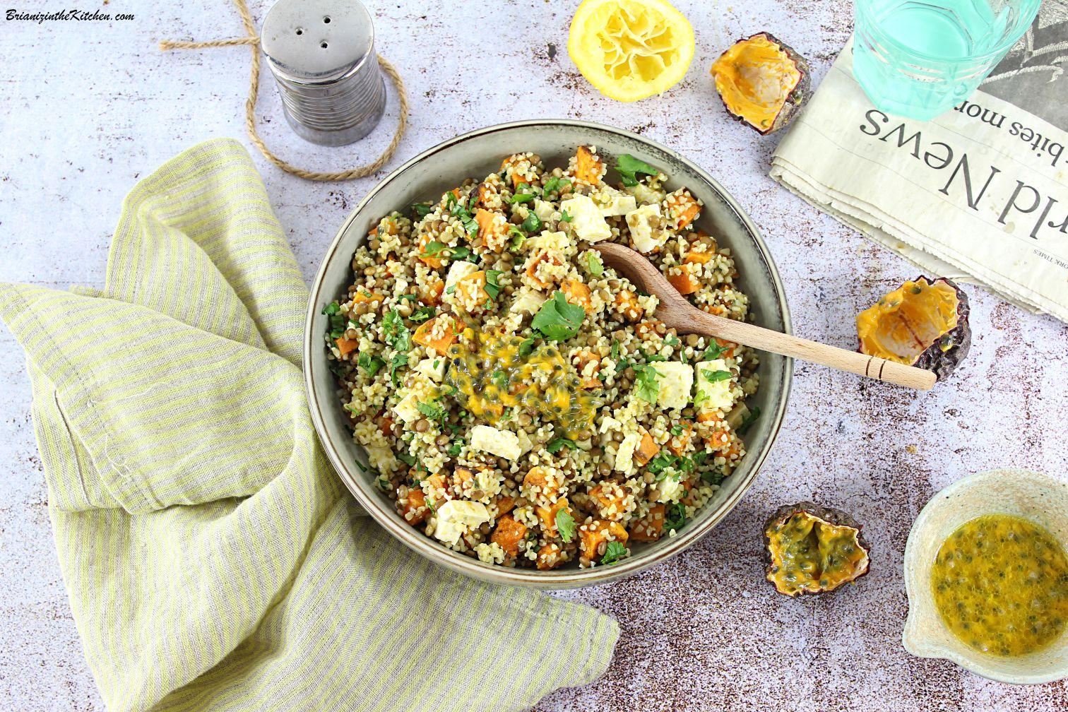 Salade de Boulgour, Lentilles Vertes et Patate Douce Rôtie {Vinaigrette Fruit de la Passion}