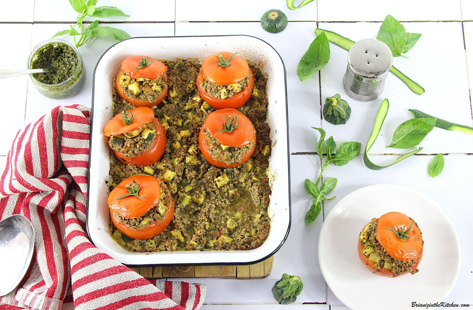 Tomates Farcies Viande Hachée, Courgettes et Pesto de Basilic Maison