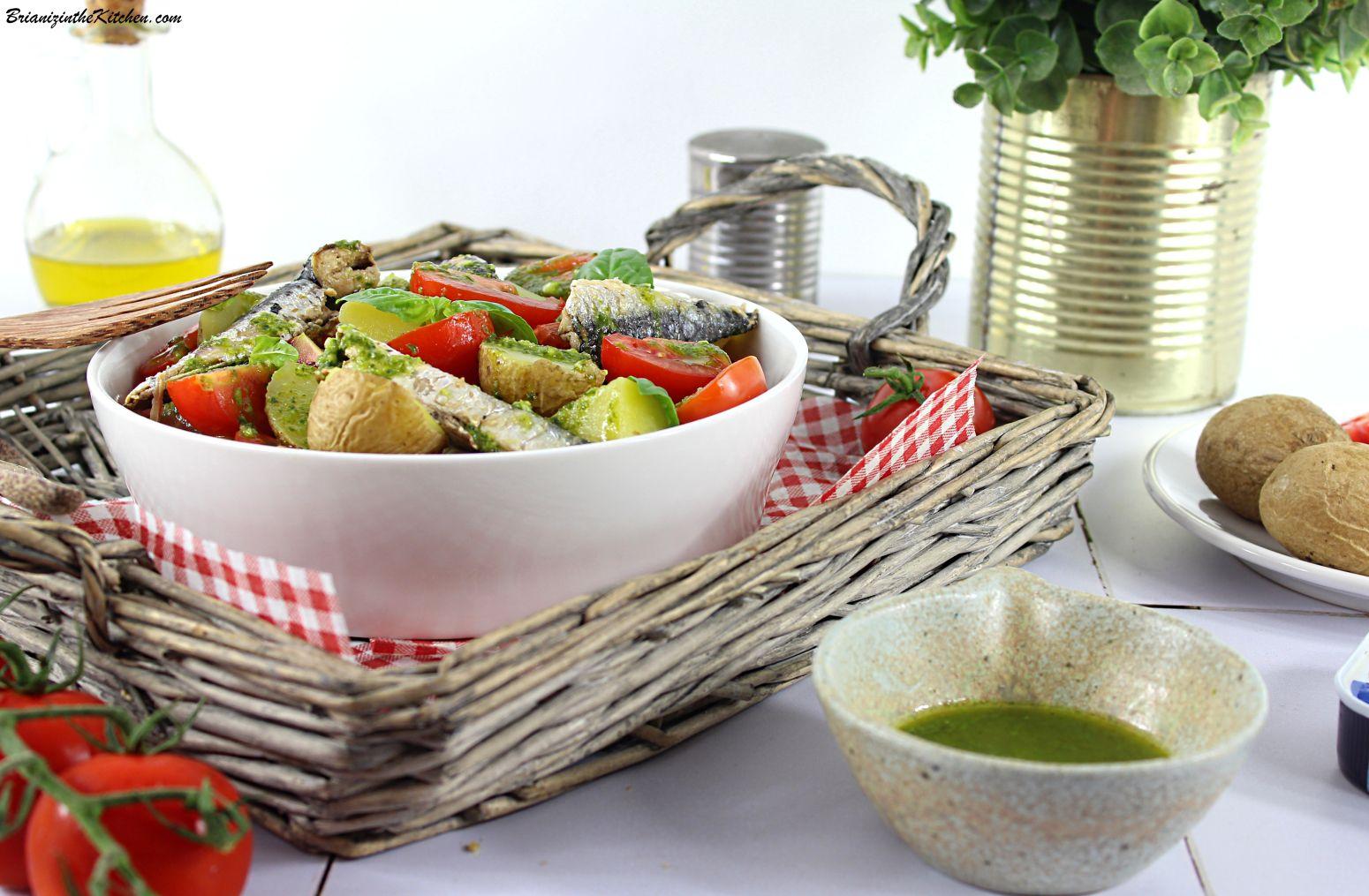 Salade de Pommes de Terre Nouvelles, Sardines, Tomates et Vinaigrette au Basilic