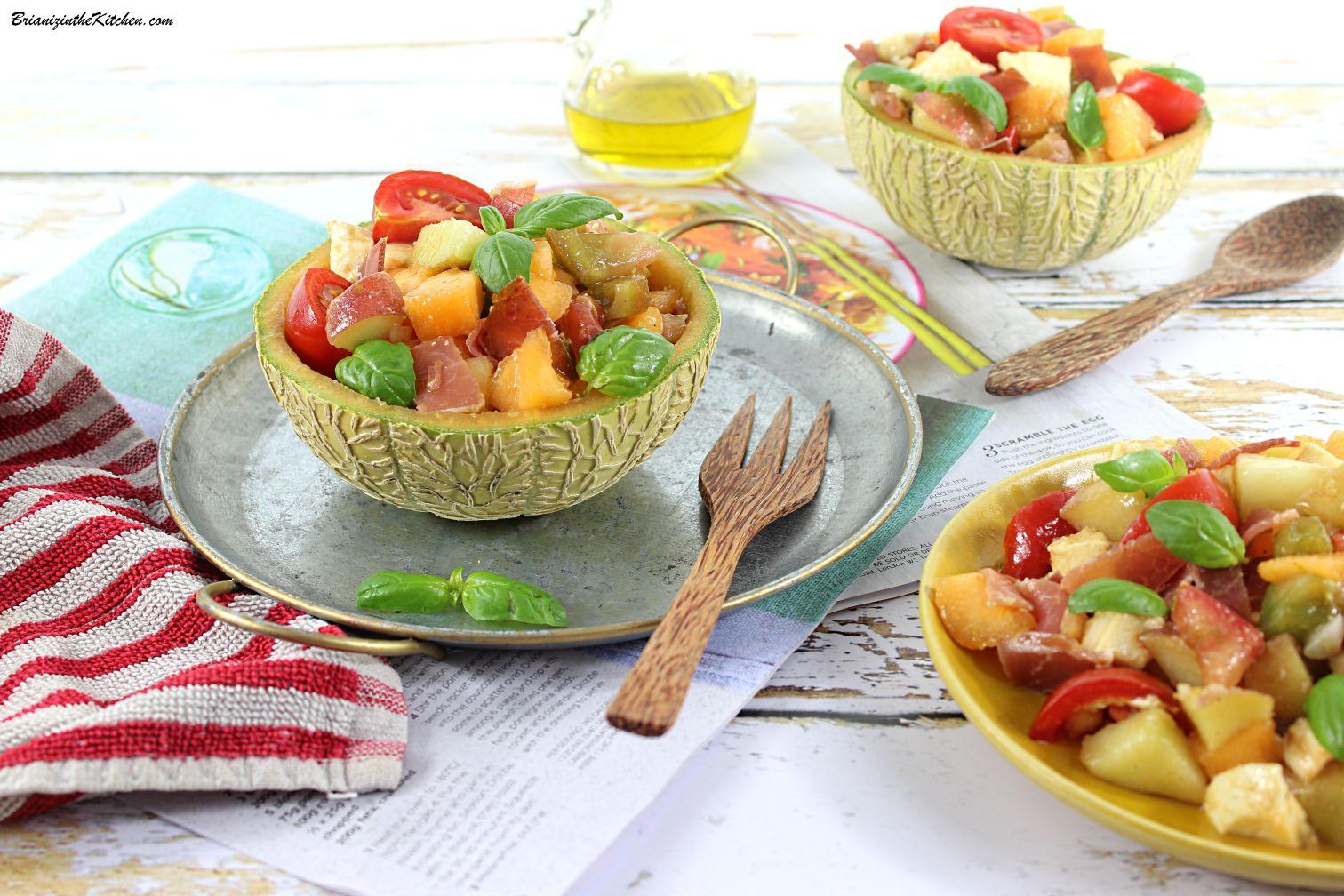 Salade de Melon, Jambon Sec, Pêches et Tomates