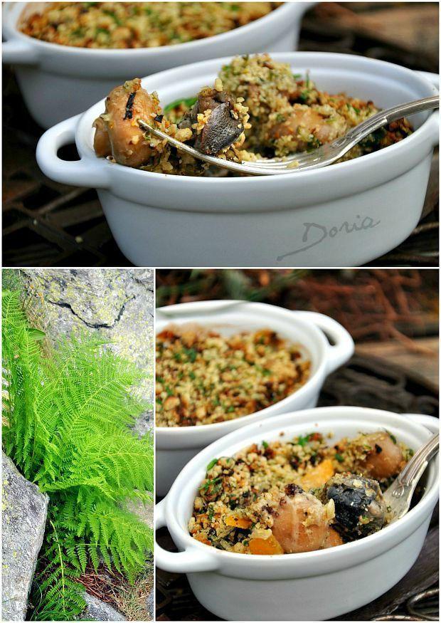 Cassolettes d'escargots au Riesling, persillade de crumble