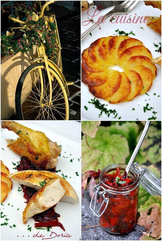 Suprême de volaille, chutney aux poivrons et rosace de pommes de terre