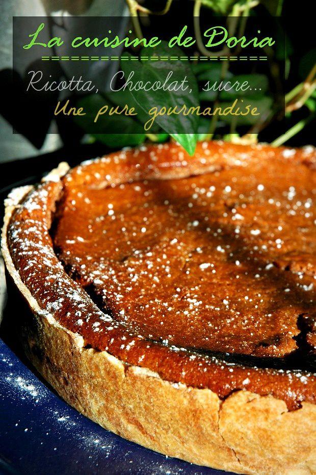 Tarte à la ricotta et crème au chocolat et poire
