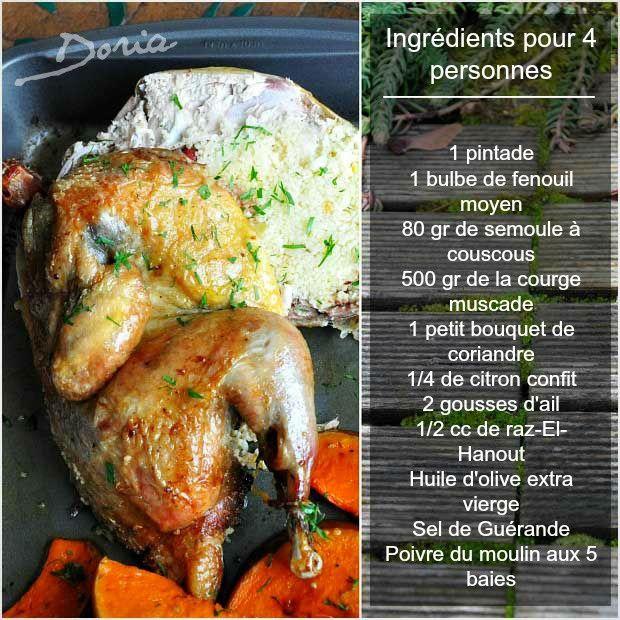 Pintade farcie au couscous et légumes