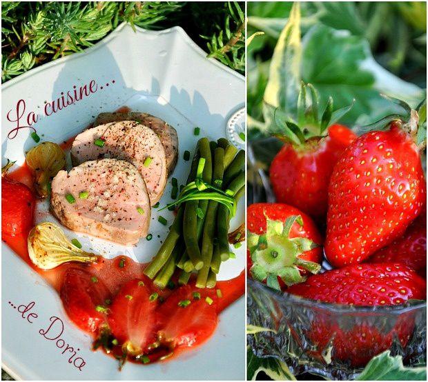 Filet mignon et poêlée de fraises au pastis