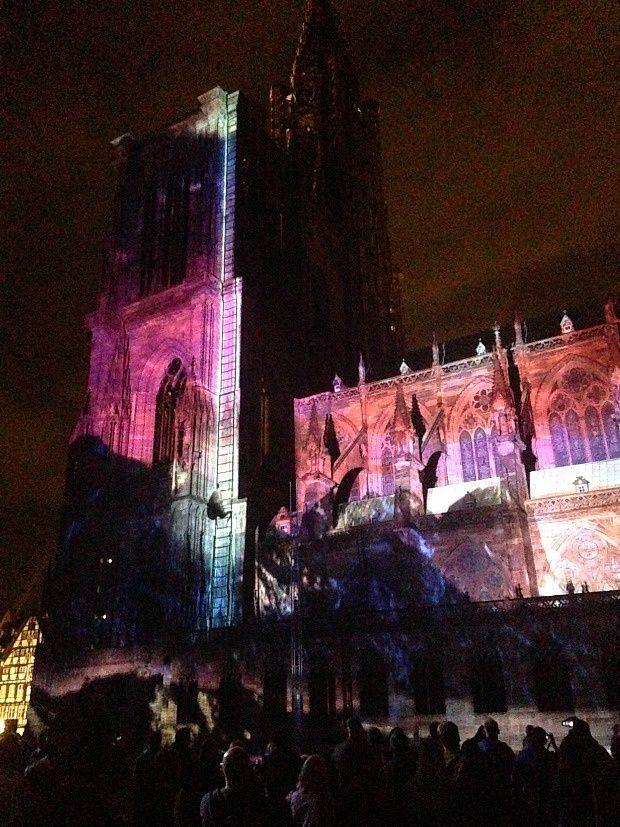 Quelques jours sur Strasbourg (1)... Illuminations de la Cathédrale de Strasbourg