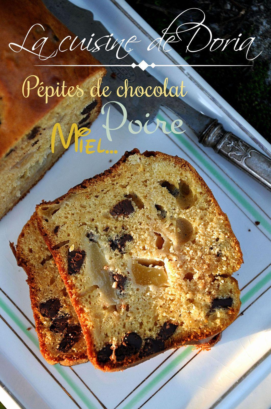 Cake au miel, pépites de chocolat noir, poire et orange