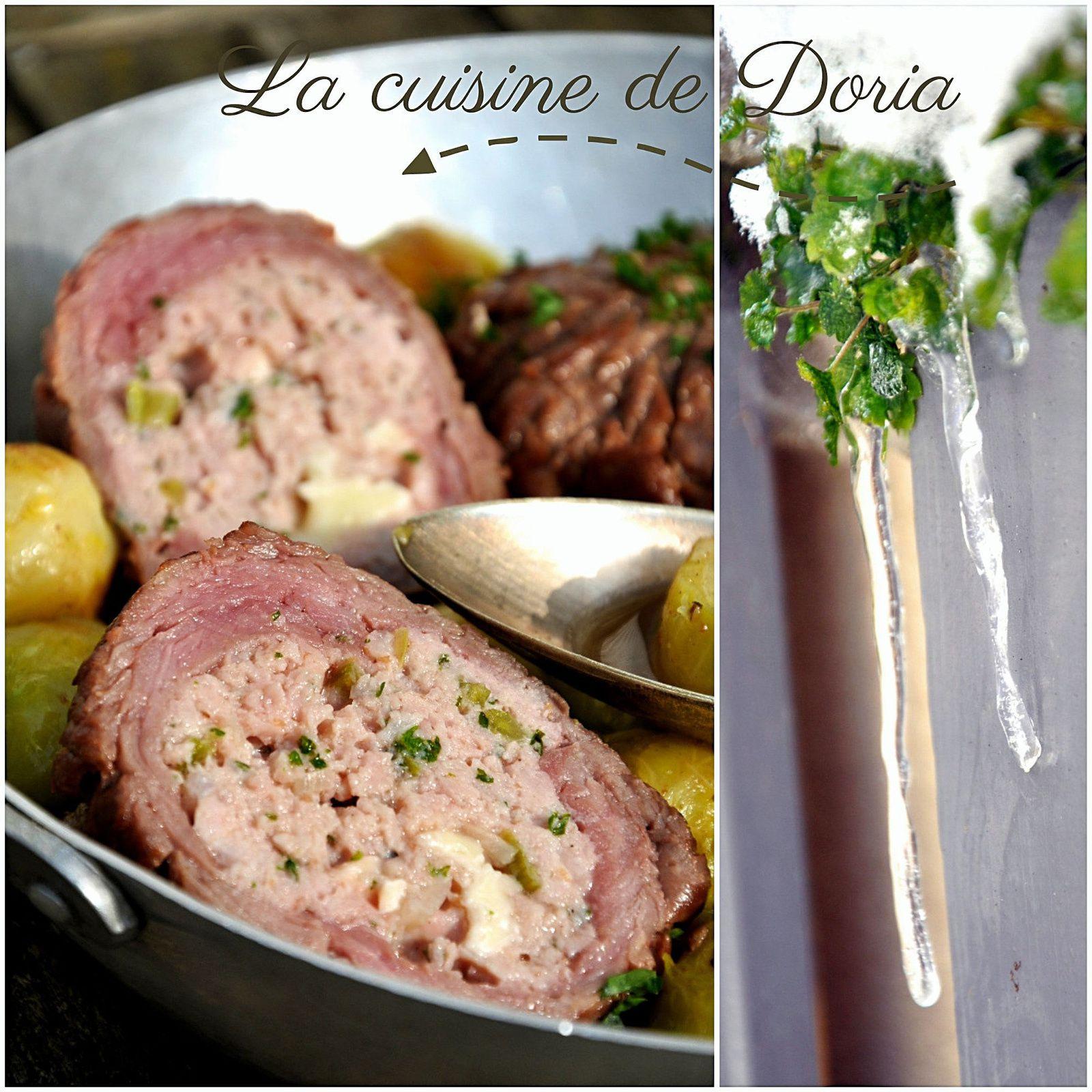 Paupiettes de veau au camembert, choux de Bruxelles