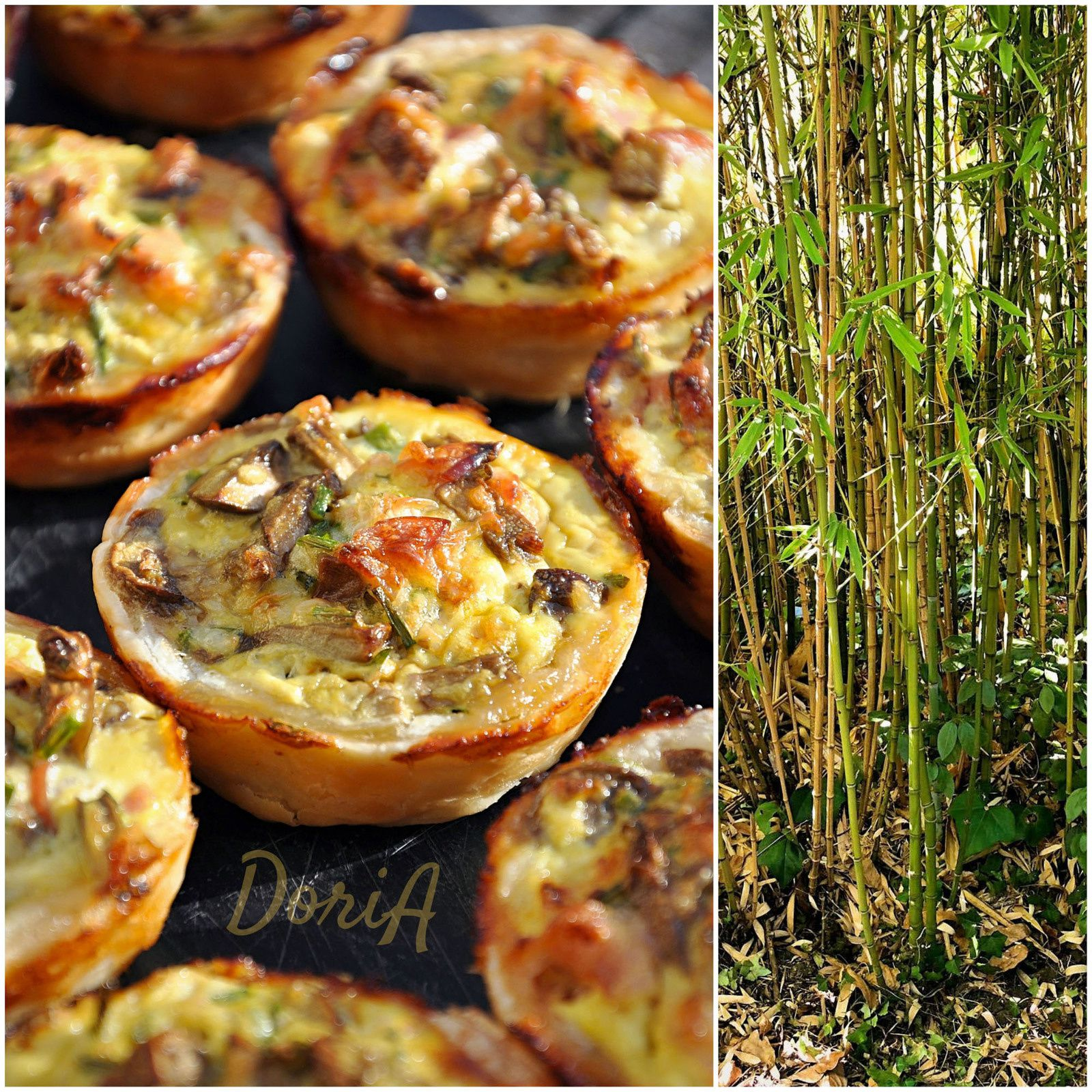 Quiches au bacon et champignons de Paris