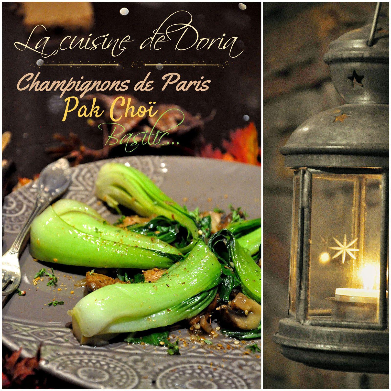 Pak Choï aux champignons de Paris et basilic