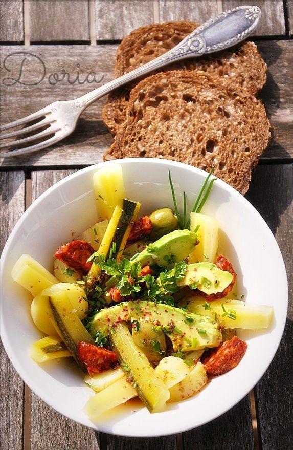 Salade de pommes de terre, courgette, avocat... et chorizo