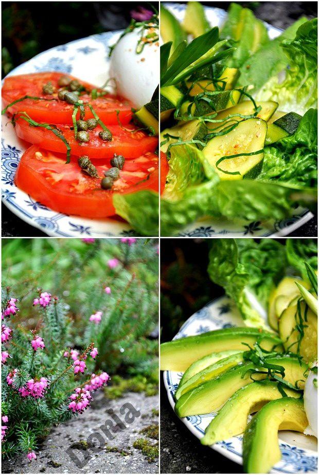 Salade tomate coeur de boeuf, avocat, courgette, mozzarella de Bufflonne à l'ail des Ours