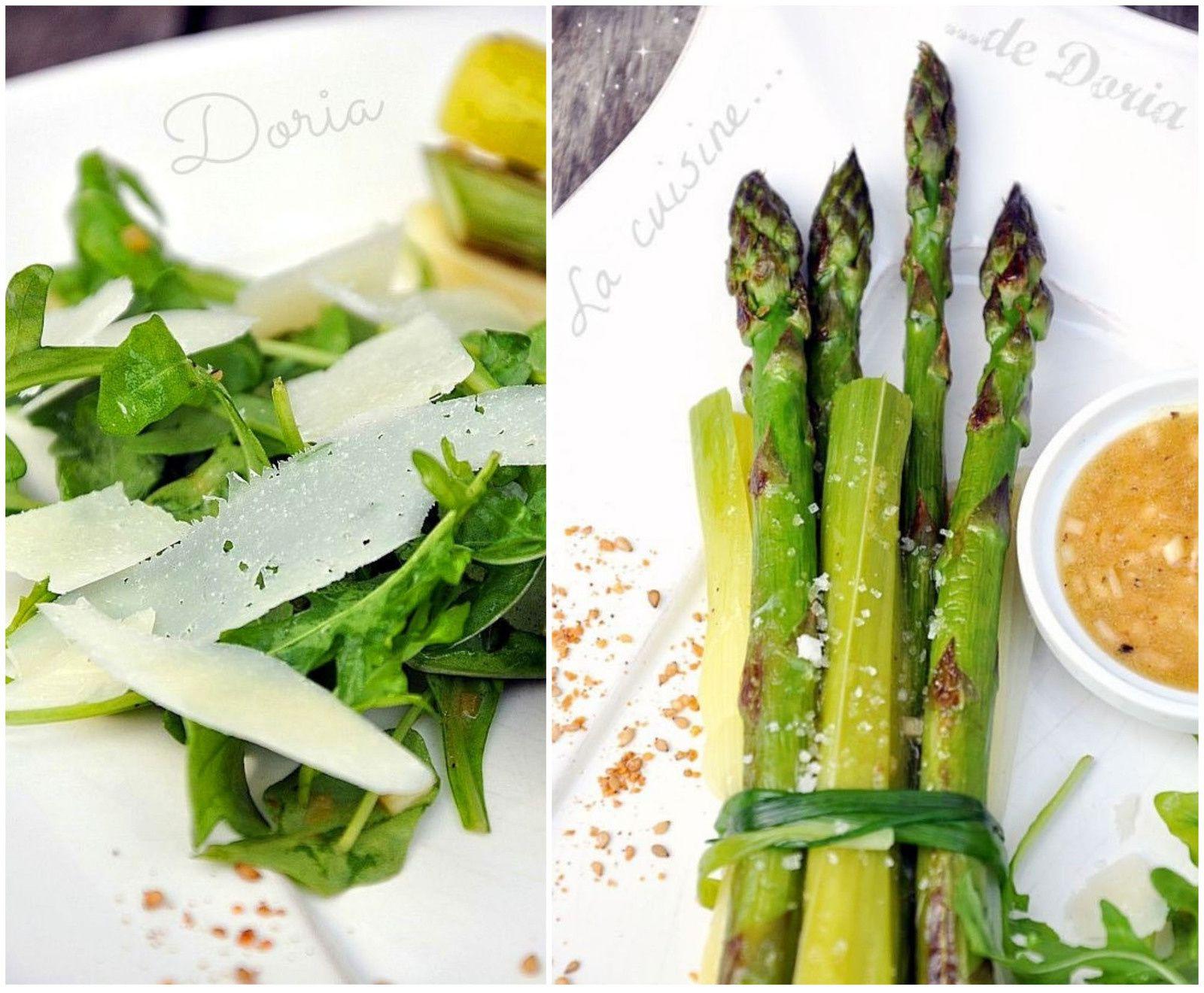 Salade d'aperges et poireaux vinaigrette et copeaux de Manchego