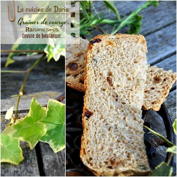 Pain de campagne aux graines de courge et raisins secs