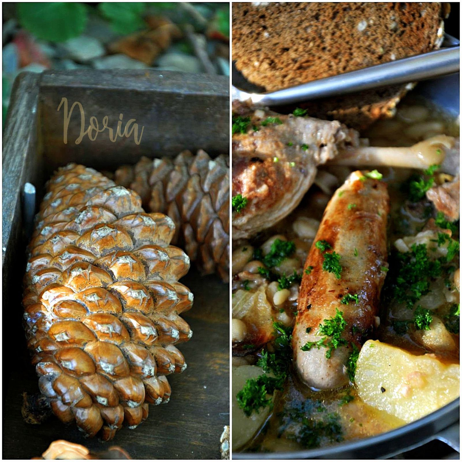 British sausages and confit duck legs with cannellini beans