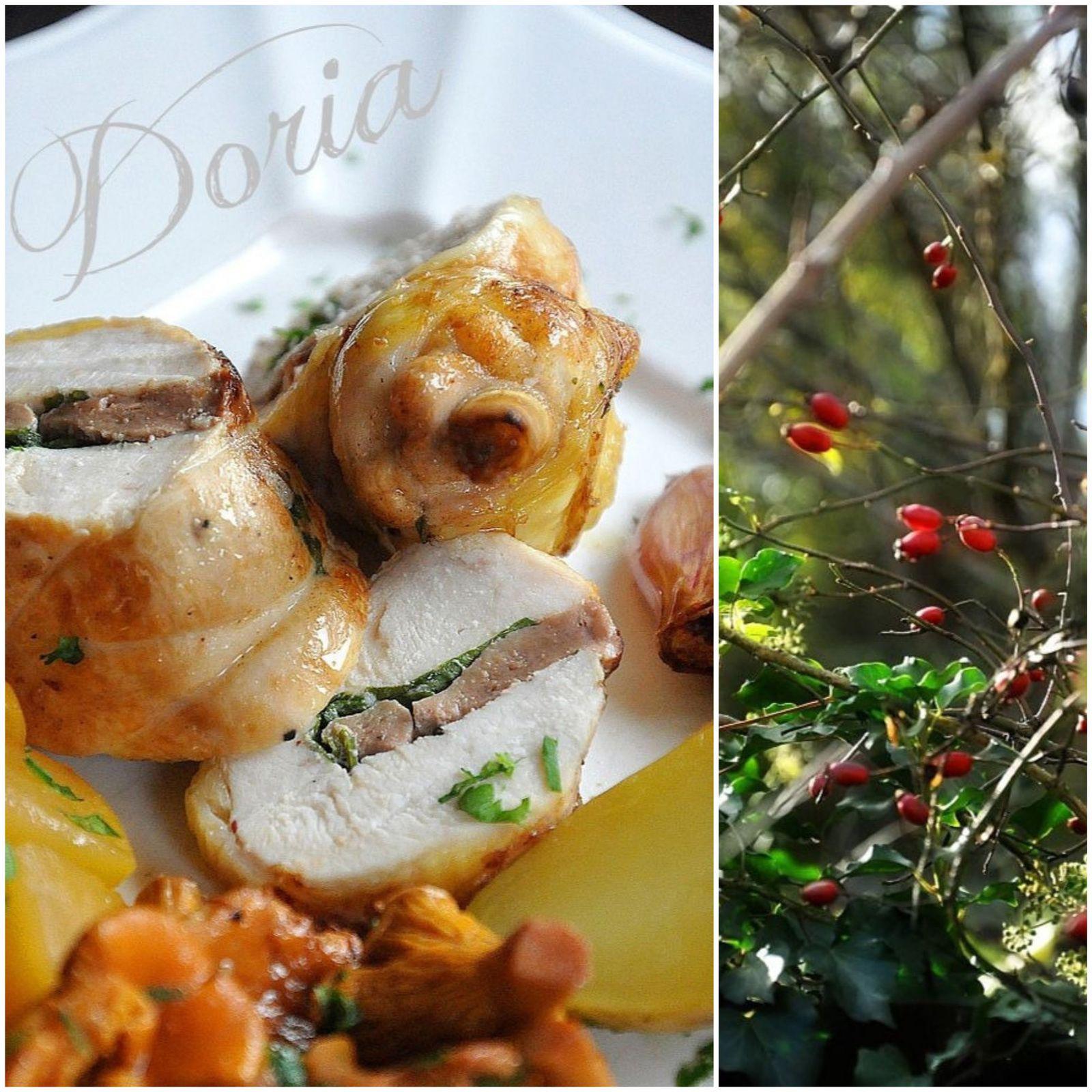 Suprême de volaille jaune au foie gras, girolles, navets et pommes de terre Pompadour