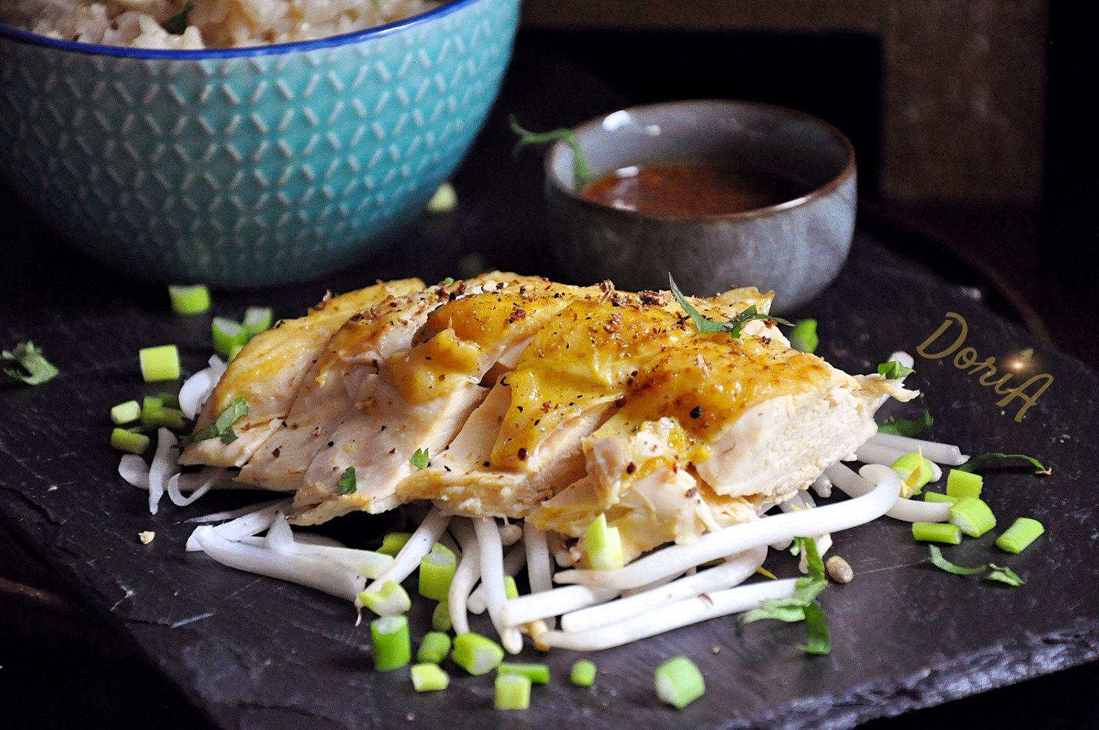 Poulet Hainan et riz complet