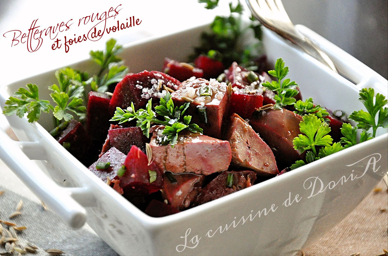 Salade de betteraves et foies de volaille
