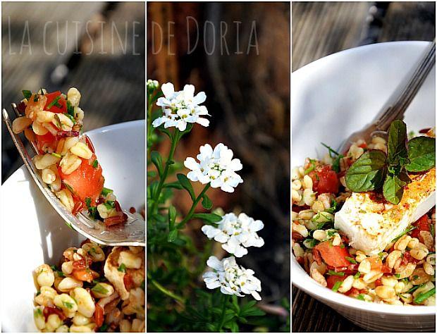 Salade de céréales aux herbes fraîches du jardin