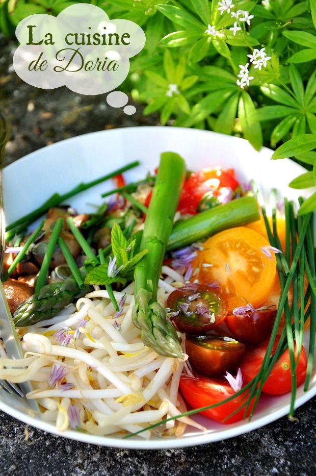 Légumes au miso et salade de riz pilé