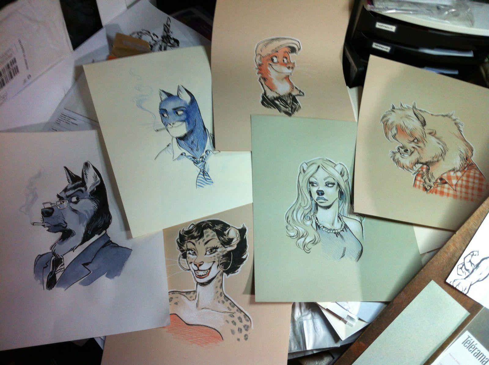 Les dessins pour les récompenses du Kickstarter sont en chantier… Oui, ce sont les votres !