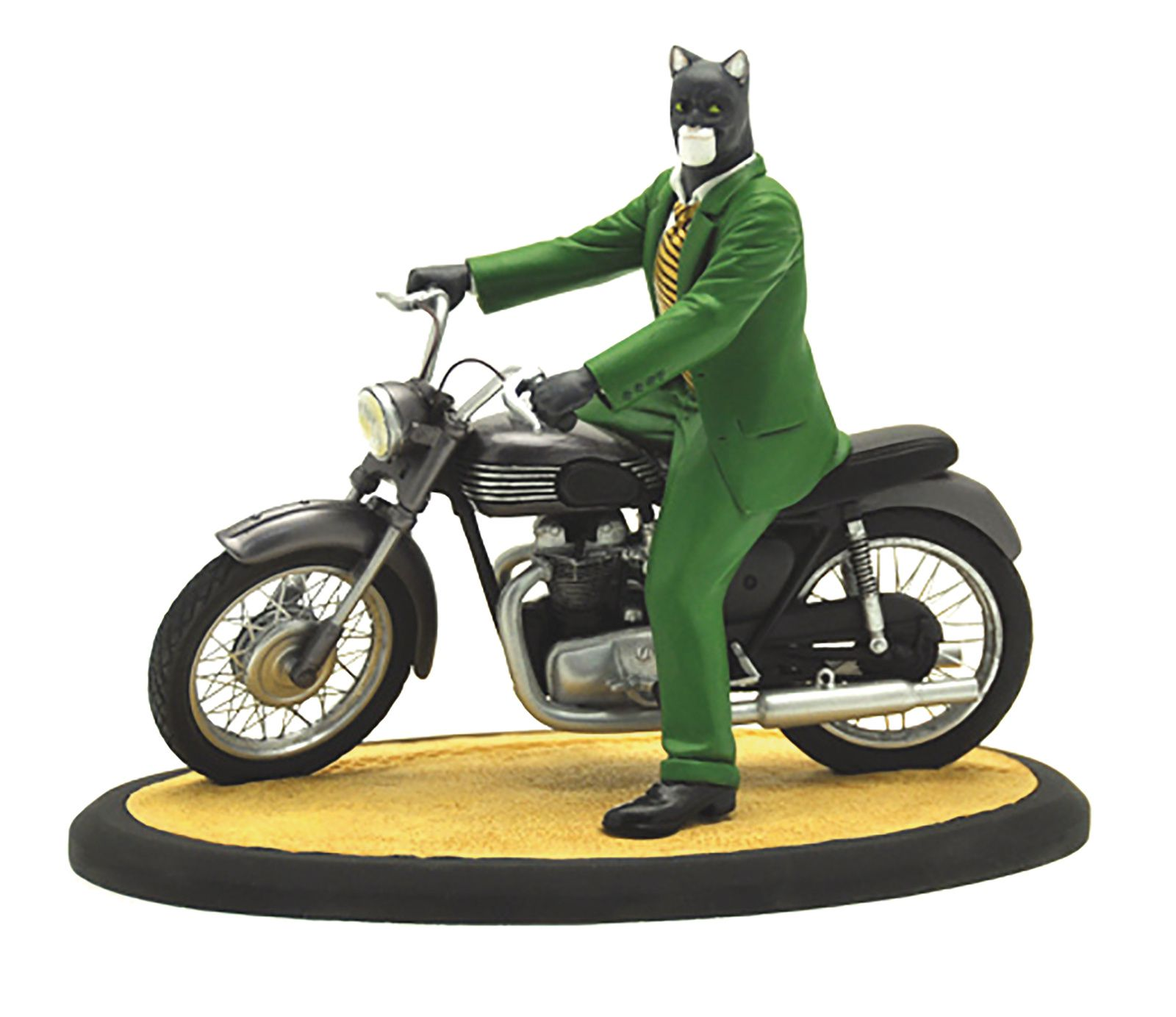 From Attakus.  Blacksad, created by Spanish authors Juan Diaz Canales (writer) and Juanjo Guarnido (illustrator), it is an anthropomorphic noir series, set in 1950s America, centered on eponymous trench-coated private investigator, John Blacksad, a lithe, witty and cynical cat. Featured here on his motorcycle, Triumph, this stunning diorama features parts made from porcelain resin and a motorcycle with real metal parts!  In Shops: Jul 25, 2018 SRP: $399.99