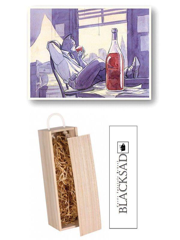 Bouteille de vin Bordeaux supérieur avec étiquette Blacksad spéciale Brüsel + ex-libris limité et signé par Juanjo Guarnido, dans un beau coffret en bois.