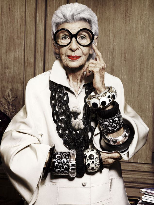 "Iris Apfel. Ihr Zitat: ""More is more and less is a bore"". Quelle: edgifyme.com."