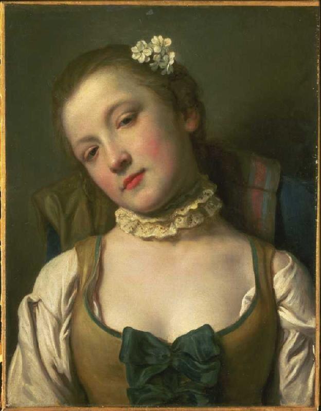 So keck kann man den Spitzenkragen auch tragen: Bild Pietro Antonio Conte Rotari (1707 - 1762) - Mädchen mit weisser Halskrause