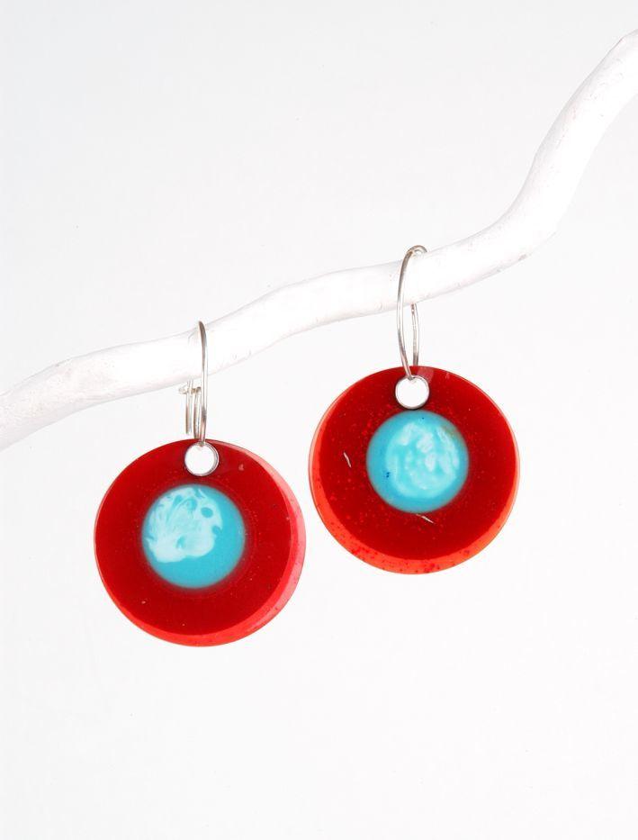 Ohrringe aus Kunstharz-Perlen und Silber