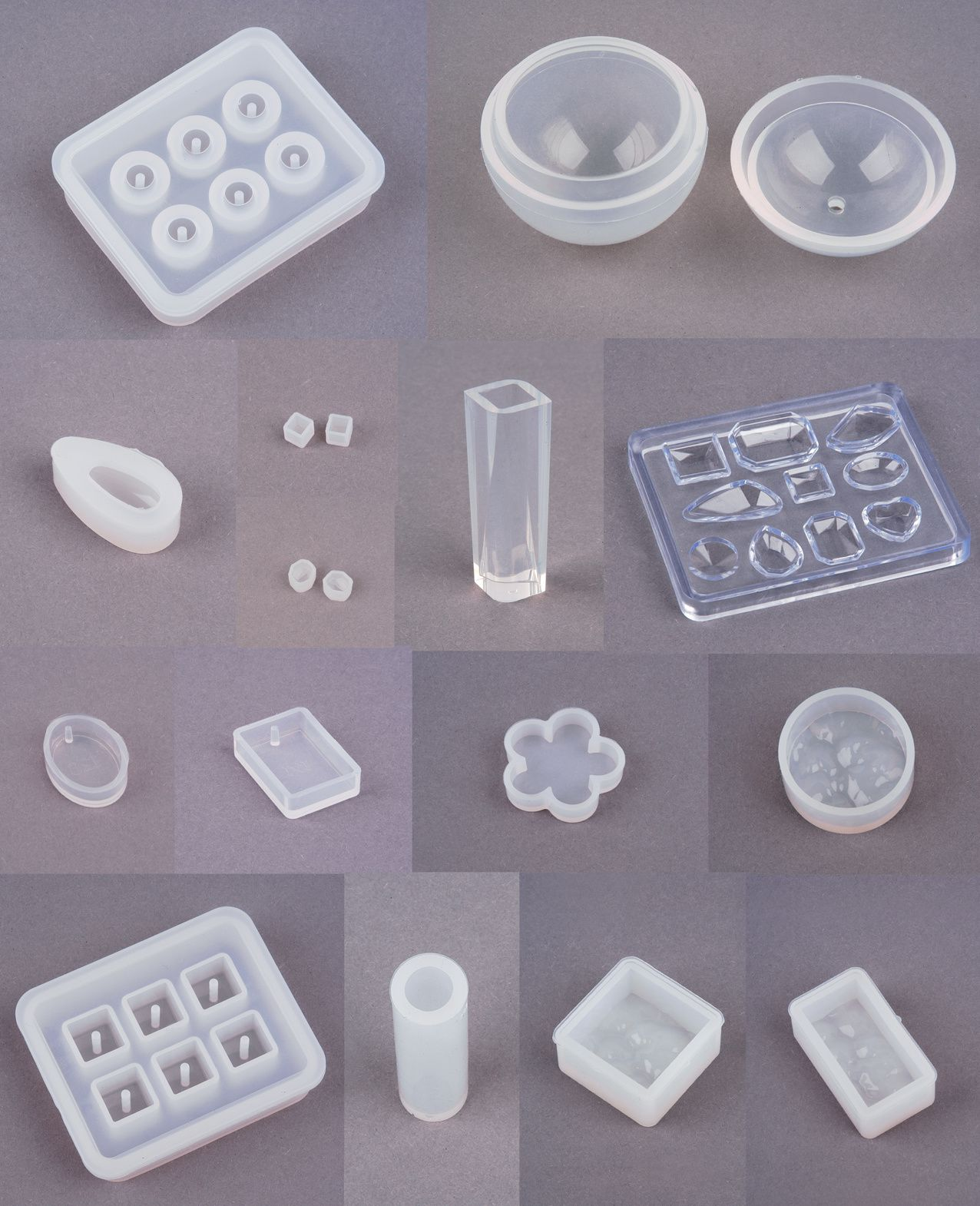 Diverse Kauf-Silikonformen für die Herstellung von Schmucksteinen aus Gießharz.