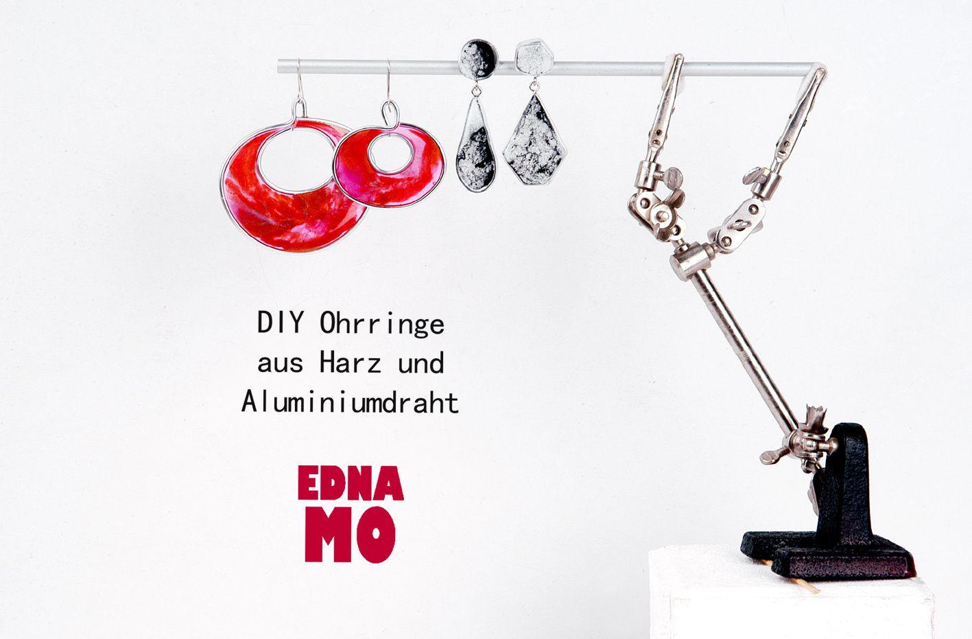 DIY Ohrringe aus Kunstharz und Aluminiumdraht_I_OHNE SILIKONFORM