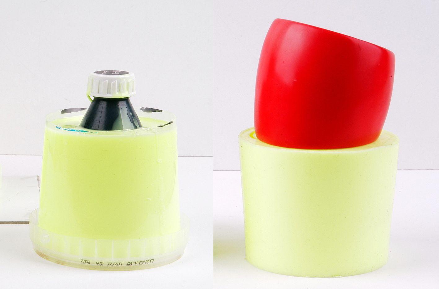 Trotz Widerstand der Innenflasche: die Armreifen-Silikonform ist prima geworden.