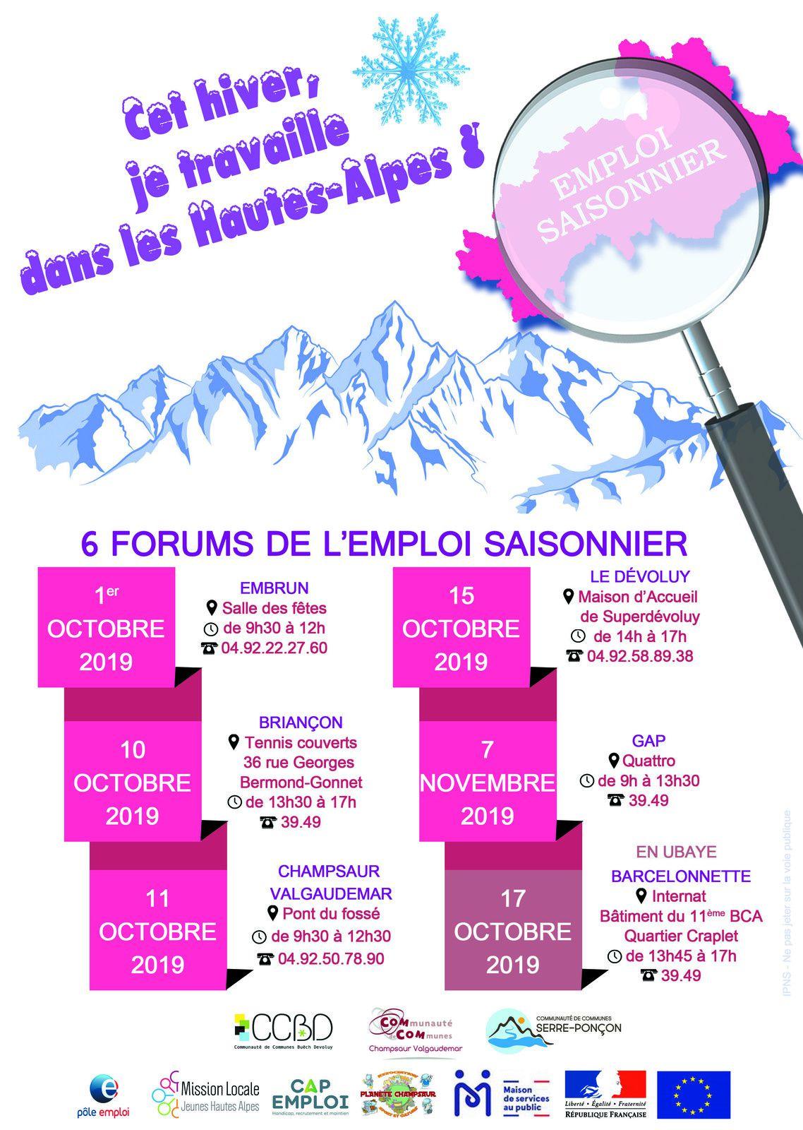 Forums pour l'emploi - Hiver 2019 - Programme des différentes dates
