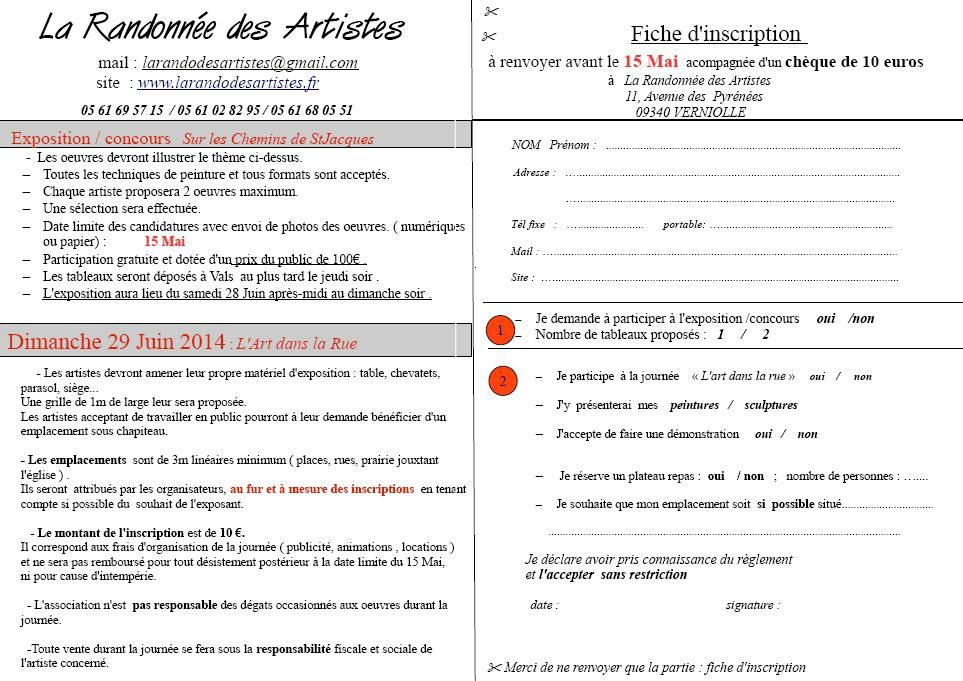 le bulletin d'inscription
