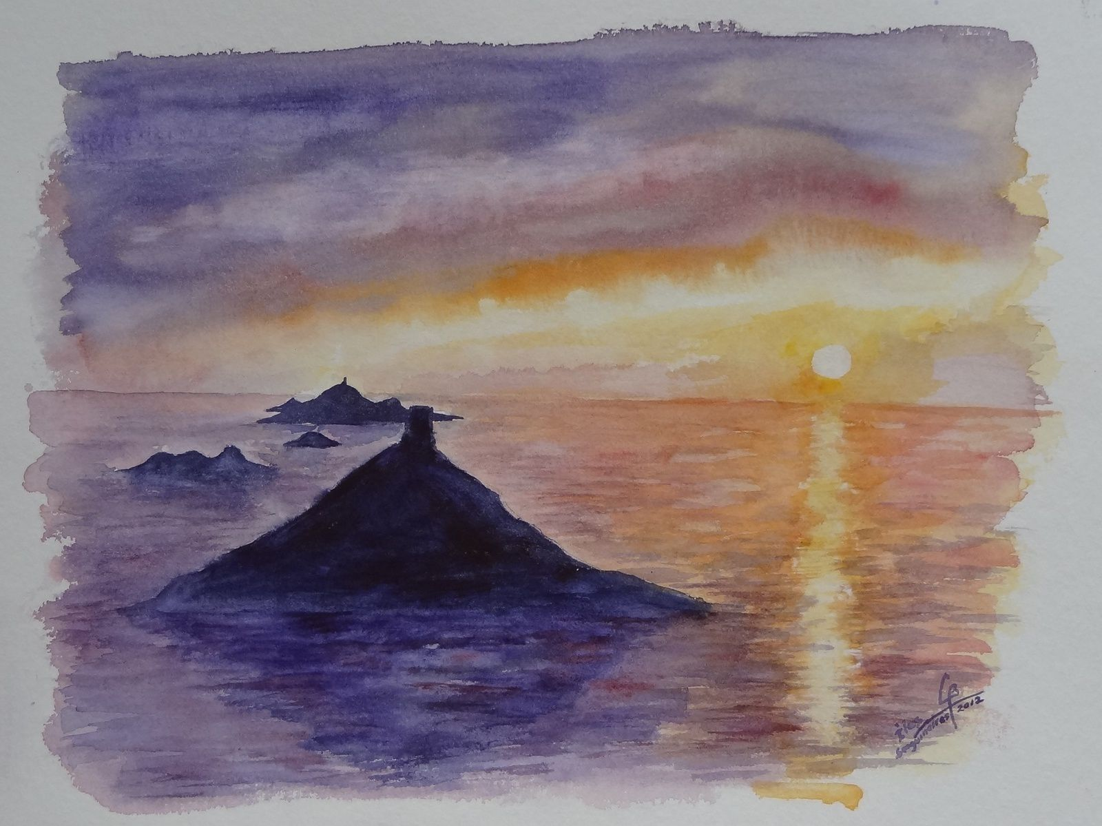 claude_coucher soleil ile sanguinaire_aquarelle