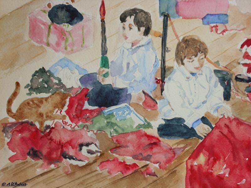 la découverte des cadeaux_altheia_aquarelle
