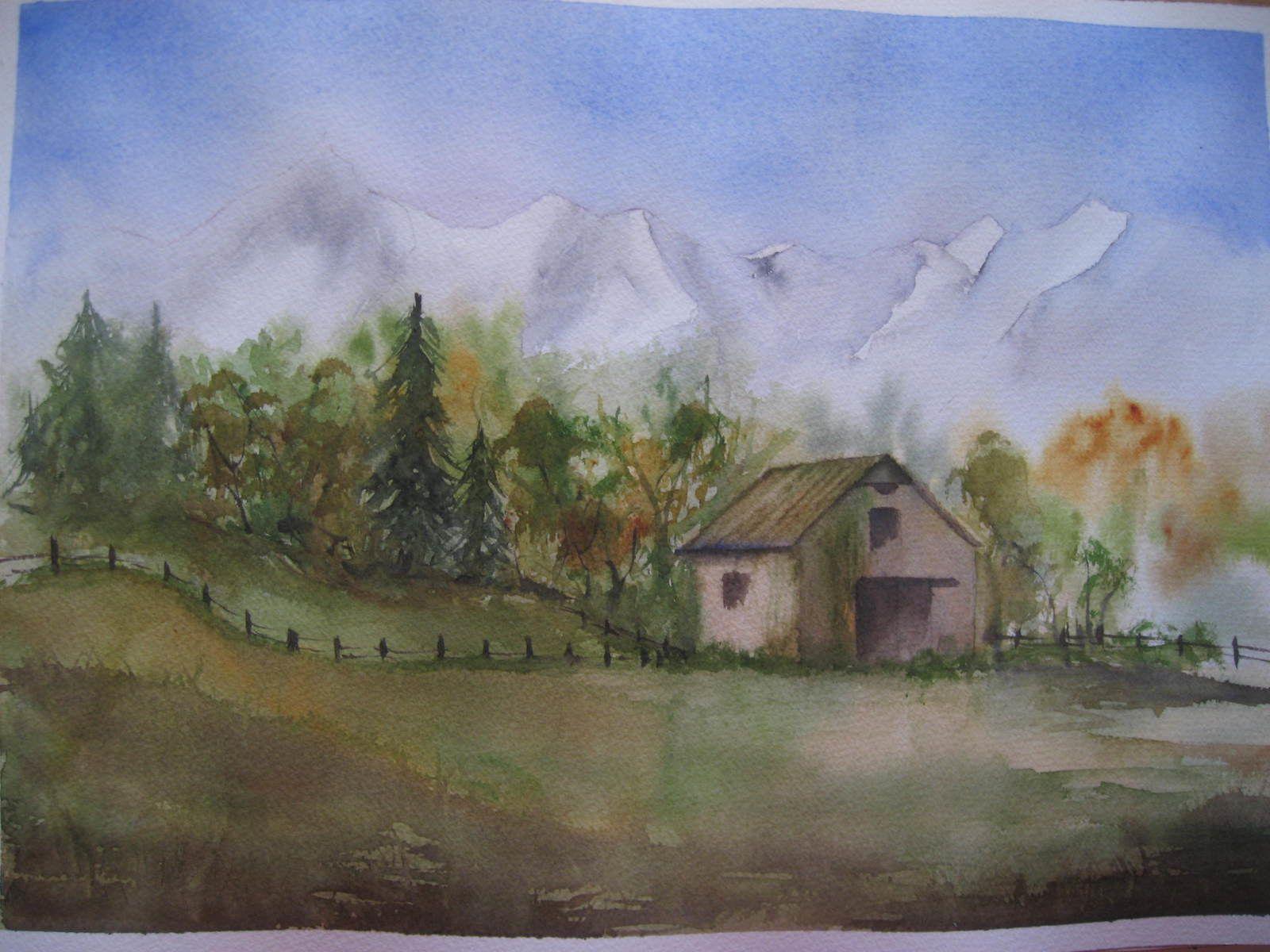 une des aquarelles réalisées lors de ce stage, sujet que j'ai traité suite à un croquis pris sur le motif