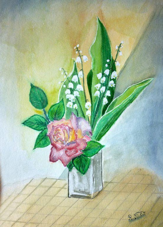 rose et muguet_aquarelle_robert