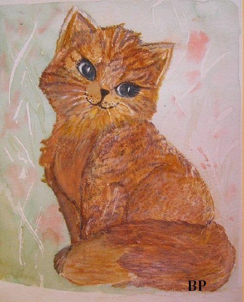 chaton rigolo_Brigitte_crayons aquarellables