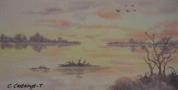 carte aquarelle : coucher de soleil sur le lac